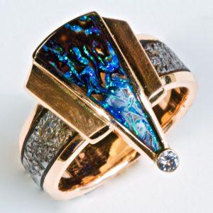 Neon Boulder Opal ring